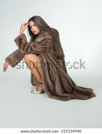 Happy Sexy Woman Long Dark Fur Stock Photo 316635266 - Shutterstock