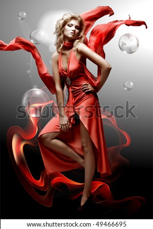luxury beautiful young fantasy woman in red dress