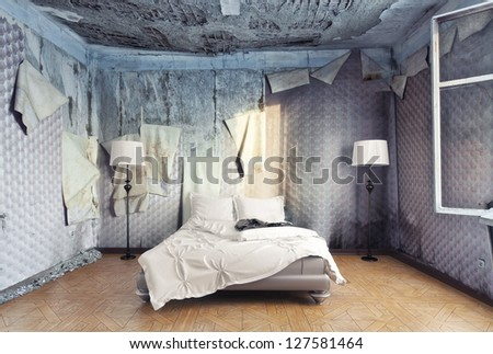 luxury bed in abandoned interior (photo compilation) - stock photo