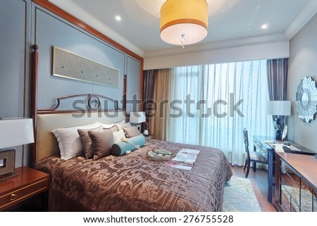 luxury bed room interior and decoration - stock photo