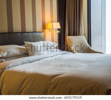 Luxury bed room with a white linen bed sheet in vintage tone color. Luxury Bed Room White Linen Bed Stock Photo 603179519   Shutterstock