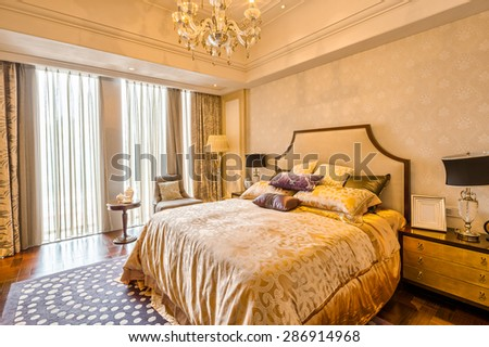 luxury bedroom and furniture with upscale design and decoration - stock photo