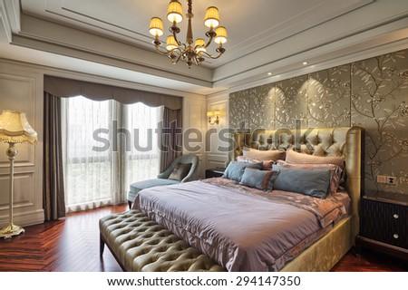 luxury bedroom interior and decoration - stock photo