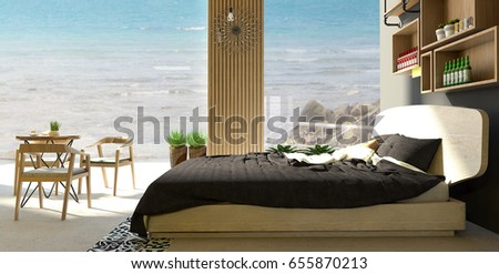 Luxury Bedroom Interior And Living Room With Overlooking Sand Beach Background Sea View 3d