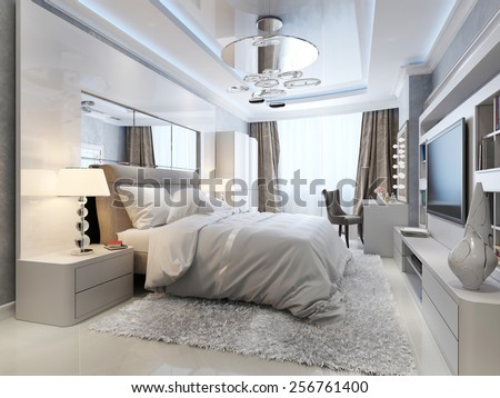 luxury bedroom interior, 3d picture - stock photo