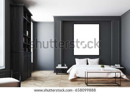 luxury bedroom interior with gray and black walls a bookcase a double bed
