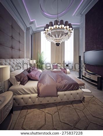 Luxury bedroom neoclassicism style. 3d render - stock photo