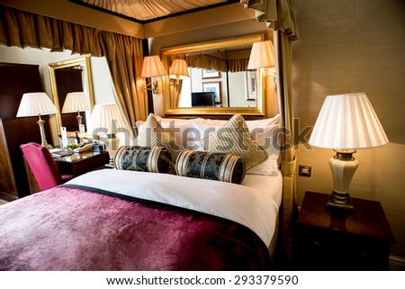 Luxury bedroom with beautiful decoration - stock photo