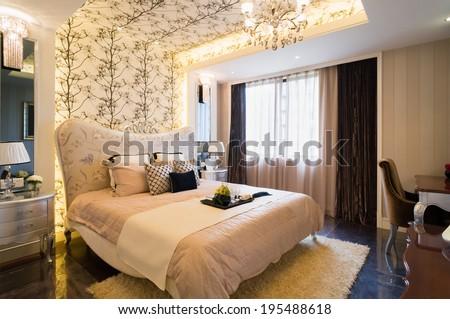 luxury bedroom with nice decoration - stock photo