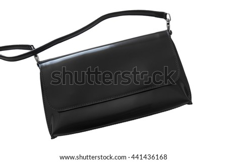 Luxury black leather purse isolated on white background