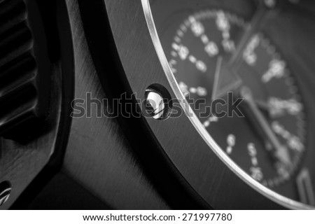 Luxury black watch swiss made  - stock photo