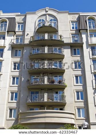 Luxury block of Condominium apartments with balconies - stock photo