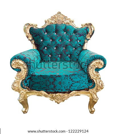 luxury blue and golden armchair isolated with clipping path - stock photo