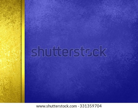 Luxury blue background with gold sidebar and gold ribbon, with vintage texture - stock photo