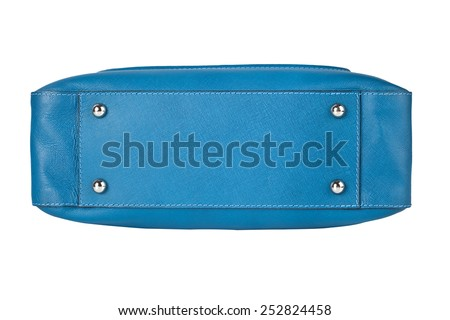 Luxury blue leather handbag isolated on white - stock photo