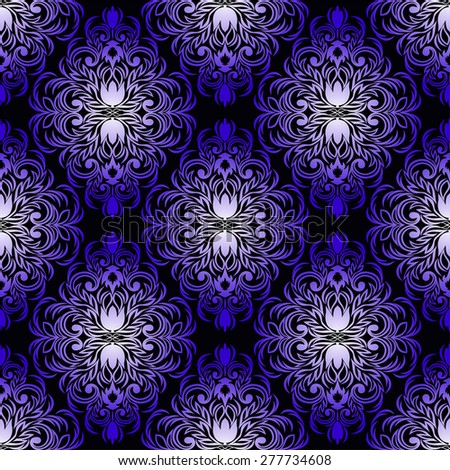 Luxury  blue seamless Wallpaper for Design. Raster version. - stock photo