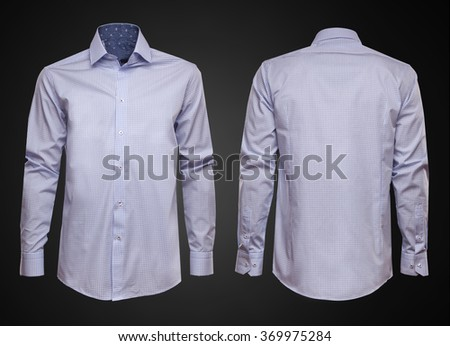 Luxury blue shirt on dark background. Businessman clothes