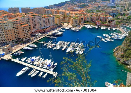 Luxury boats by the pier of Fontvieille harbor, Monaco, French Riviera