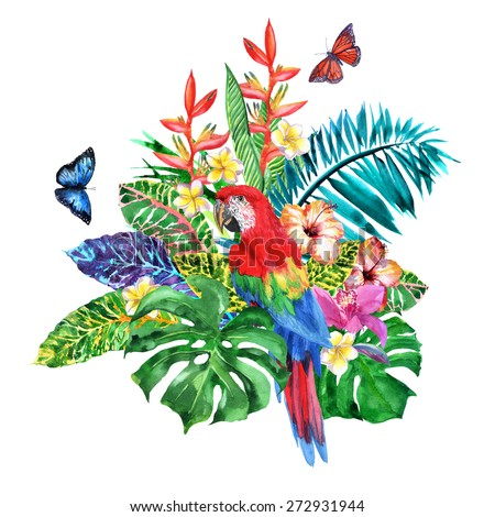 Luxury bouquet of tropical flowers and a red Macaw parrot. Watercolor realistic illustration - stock photo