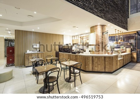 Luxury Boutique Hotel Lobby With Pending Light Marble Stone Employee Coffee In