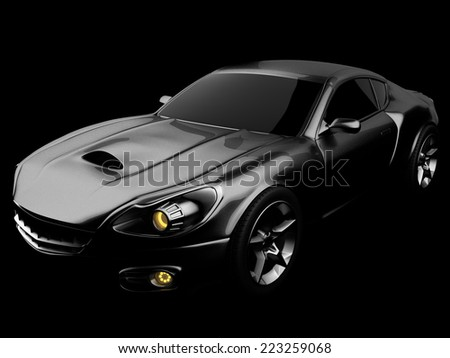 luxury brandless sport car at black background