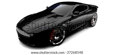 Luxury British sports Car in black isolated on white - stock photo