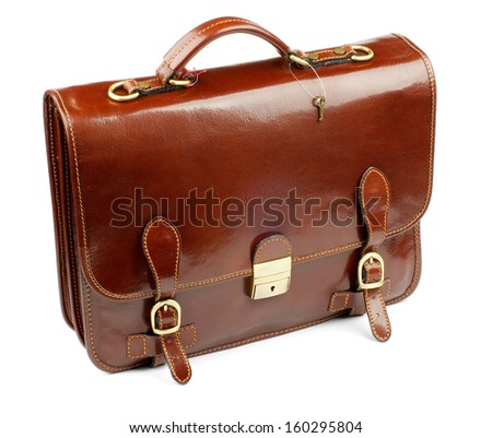 Luxury Brown Leather Briefcase closeup with Gold Details and Little Key isolated on white background - stock photo