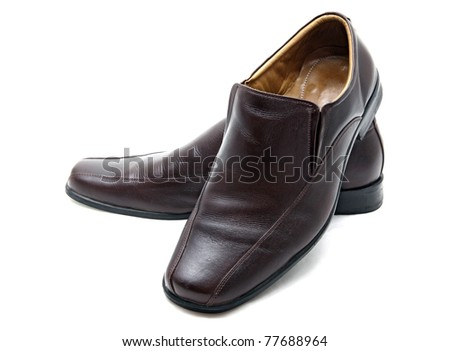 luxury brown leather man shoes on a white background - stock photo