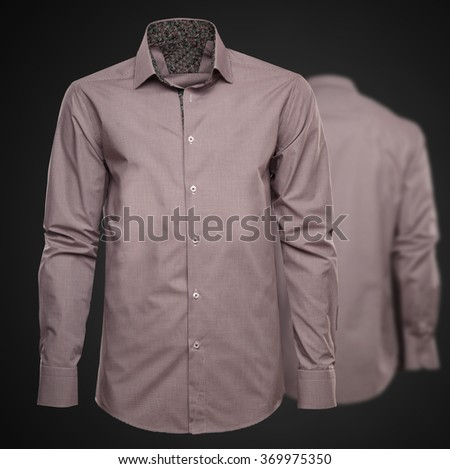 Luxury brown shirt on dark background. Businessman clothes