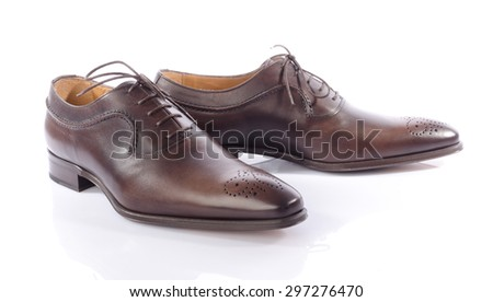 Luxury brown shoes, isolated on white