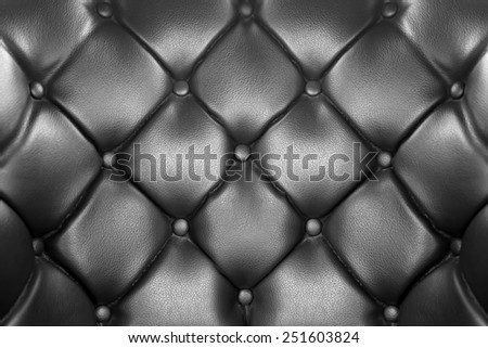 luxury buttoned black leather background - stock photo