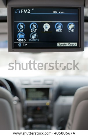 Luxury car entertainment system - stock photo