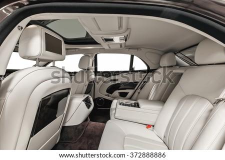 luxury car inside interior prestige modern stock photo 372888886 shutterstock. Black Bedroom Furniture Sets. Home Design Ideas