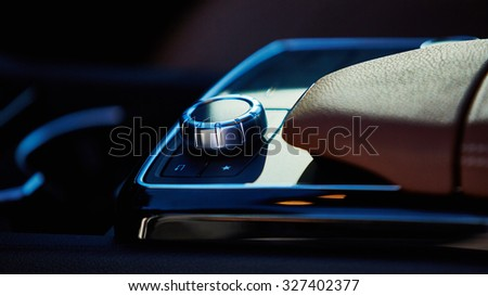 Luxury car interior details. The Shallow dof