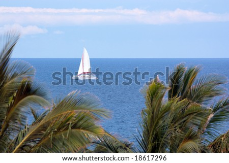 Luxury Catamaran Boat Tour of Big Island Coast, Hawaii - stock photo