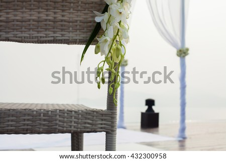 Luxury chairs setup for outdoor wedding  ceremony - stock photo