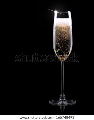 luxury champagne glass on a black background