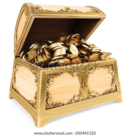 luxury chest with golden coins. isolated on white background. - stock photo