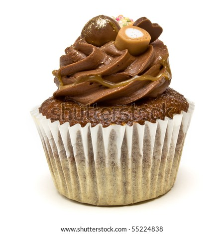 Luxury Chocolate Cup Cake from low perspective isolated against white background.