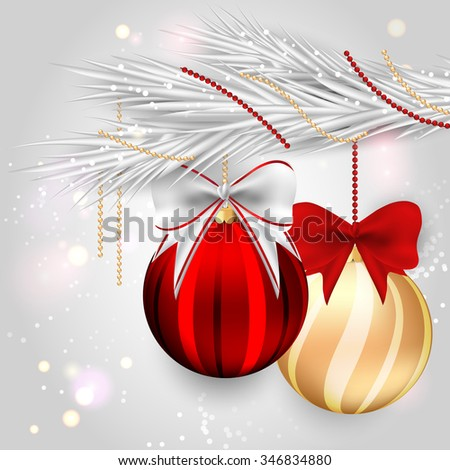 Luxury Christmas background with silver fir tree and balls. Raster version. - stock photo
