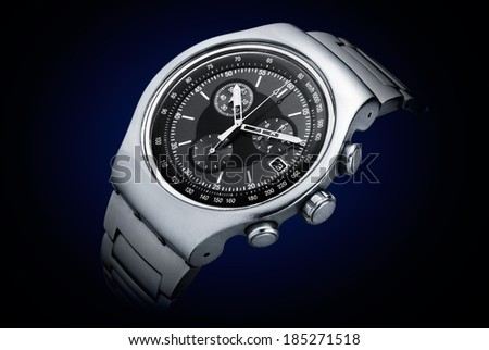 Luxury chronograph watch stainless steel - stock photo