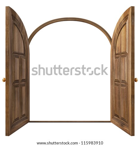 Luxury classic doors. Isolated on white. - stock photo