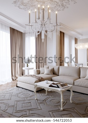 Luxury Classic Interior Of Dining Room And Living Room With White Furniture  And Crystal Chandeliers.