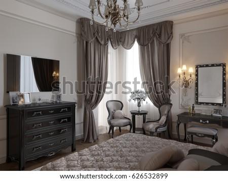 luxury classic modern bedroom interior design with beige walls bronze fixtures accessories black silver furniture baroque