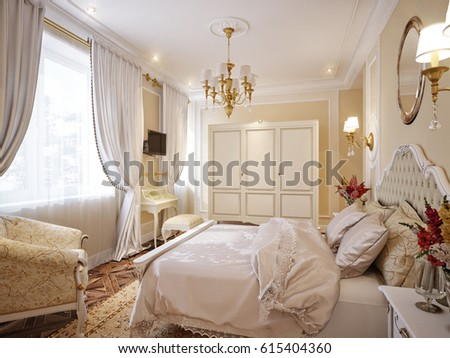 Luxury Classic Modern Bedroom Interior Design with Beige Walls Gold Accessories White Furniture. 3d rendering