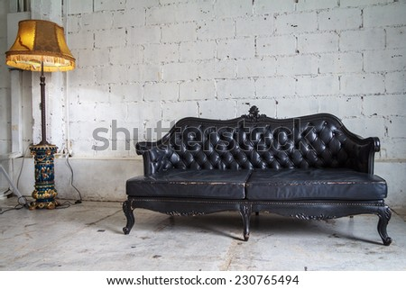 Luxury Classic Sofa And Lamp Set - stock photo