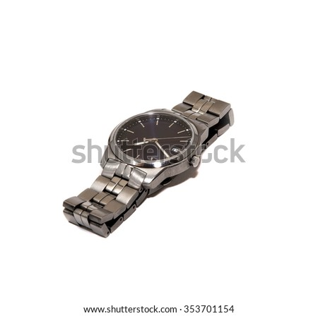 Luxury classic watch closeup isolated on white background