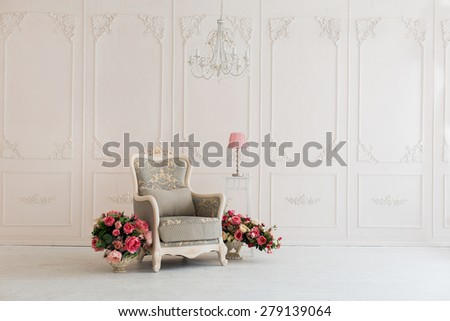 luxury clean bright white interior - stock photo