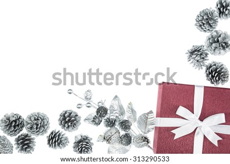 luxury color gift box for holiday event silk wrap pine cone on white background isolated