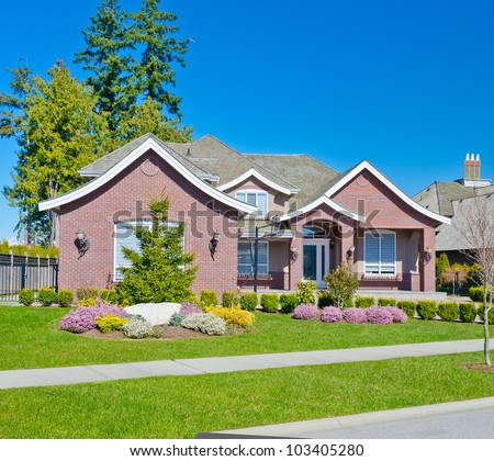 Luxury colorful home in the suburbs of  Vancouver, Canada. - stock photo